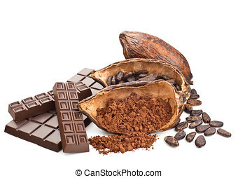Cocoa and chocolate isolated on a white background
