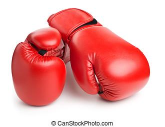 cuero, boxeo, aislado, guantes, blanco, rojo