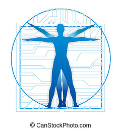leonardo proportions with circuits - illustration showing...