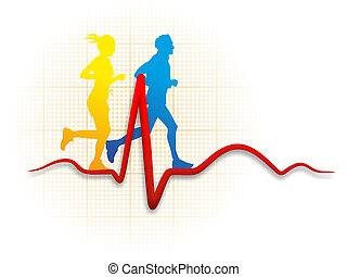runners and a cardioid - illustration of two runners and a...