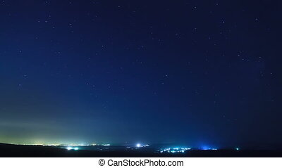 Stars above the city. Time Lapse