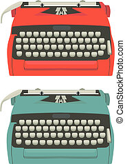 Retro typewriter set - Mid century illustration of...