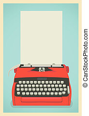 Retro typewriter background - Mid century illustration with...