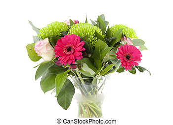 Bouquet of pink flowers in vase over white background