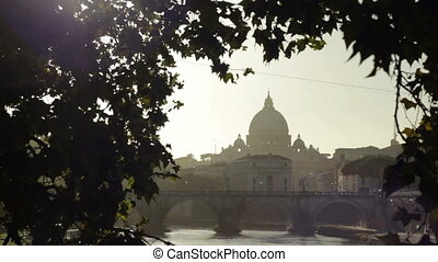 Dome of San Pietro from the Tiber - Saint Peter's Basilica...