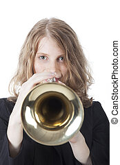 young woman playing the trumpet