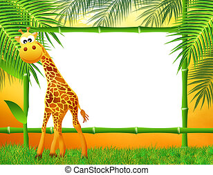 giraffe cartoon with bamboo frame