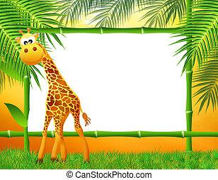 giraffe cartoon with bamboo frame