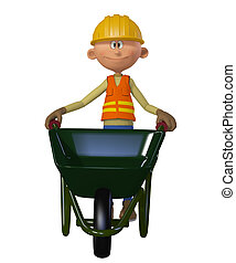 Builder 3d with wheelbarrow