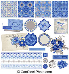 Scrapbook Design Elements - Vintage Porcelain and Flower Set...