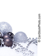 glitter silver christmas baubles decoration holidays...
