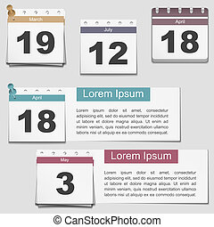 Calendar pages, vector eps10 illustration