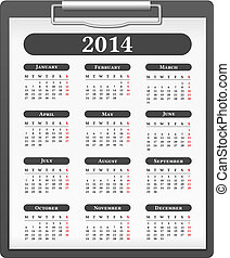 2014 Calendar - Clipboard with 2014 calendar, vector eps10...