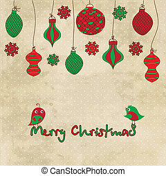 Vector card with Christmas balls and toys on vintage...