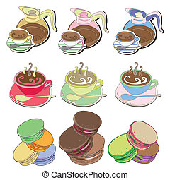 Coffee and tea and Macaroons Vector illustration