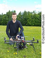 技術者, 無人機, 公園,  uav