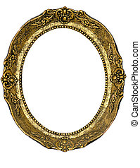 Oval golden frame - Old picture frame isolated