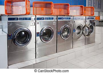 lavado, Máquinas, y, vacío, cestas, en, Un,...