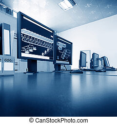Computer control room technology industry, arranged on the...