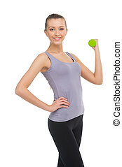 Strong woman weightlifting looking happy. Isolated on white