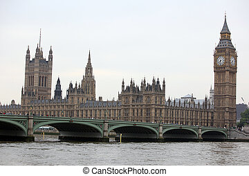 Famous and Beautiful view to Big Ben and Houses of Parliament with Westminster Bridge, London, UK