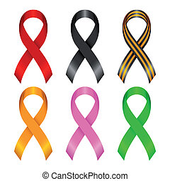 Different ribbons - Collection of awareness ribbons. Ribbons...