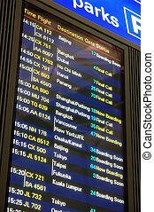 Airport flight departure board - Flight departure...