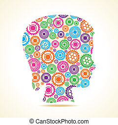 Group of gears make female face - Group of colorful gears...