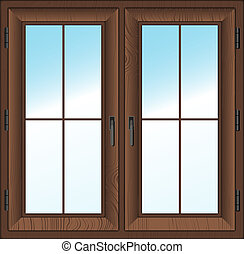 wooden closed double window. Vector illustration. - wooden...