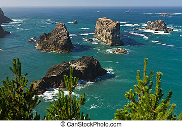 Sea stacks, Oregon coast
