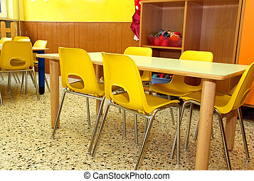 particular of a classroom in a kindergarten with little...