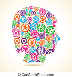 Group of gears make male face - Group of colorful gears make...