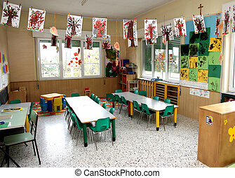 class of a nursery with drawings of children - in a class of...