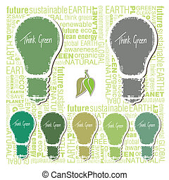 Green earth concept with Light bulb