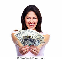 Happy young woman with money Saving account concept