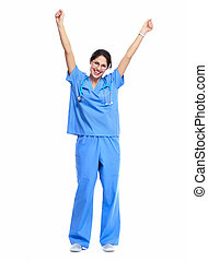 Happy Medical nurse - Medical nurse woman Standing Isolated...