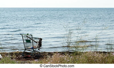 Abandoned shopping trolley on the beach - Wide shot of...