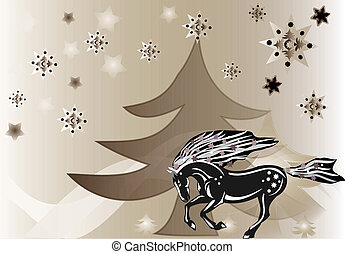 Beautiful abstract background with a horse, tree and snowflakes