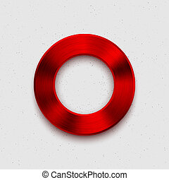 Abstract Technology Volume Button with Red Metal Texture -...