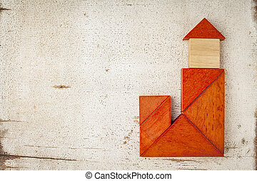 tangram building with a tower - abstract house with a tower...