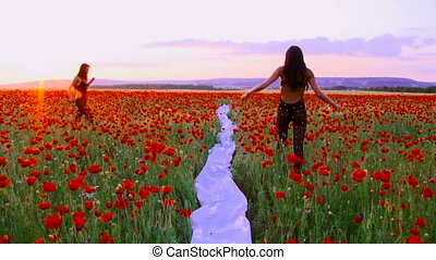 Posing among poppies - Two women posing among blossoming...