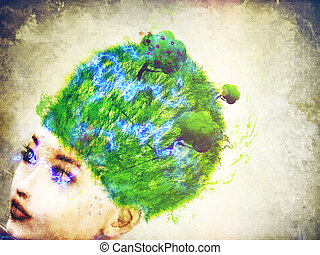 Grass on head - Abstract illustration of 3d woman with light...