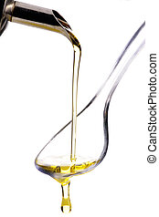 Olive Oil poured onto a spoon