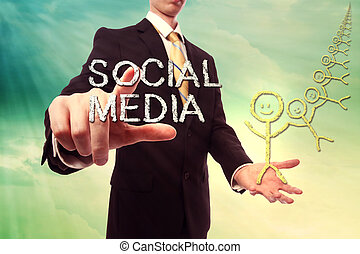 Social media concept with business man over turquoise yellow...