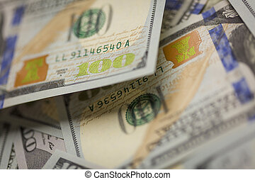 Abstract Detail of Newly Design U.S. One Hundred Dollar Bill
