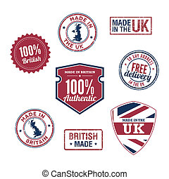 UK stamps and badges - A variety of stamps and badges for UK