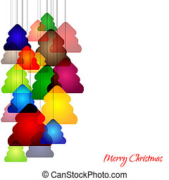 Christmas trees - Graphic design - cheerful background with...