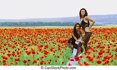 Fashion models posing for cameras in countryside