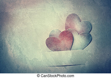 Handcrafted paper hearts in vintage tone - Handcrafted paper...
