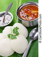south indian breakfast - idli, sambar and coconut chutney,...